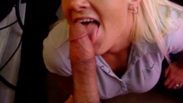 Blonde Bitch Sucking My Big Cock