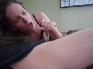 Amateur milf chokes on cum POV