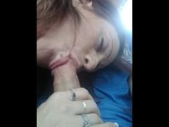 Bella sucking dick in the car
