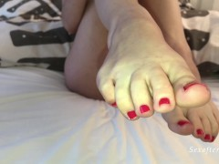 Red pedicure without panty - lotion on feet