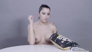 Porn Stars Eating: Cassandra Cain Crunches Popcorn porno