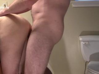 MILF bent over in bathroom and get huge cumshot on ass