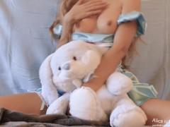 Teen Girl Alice masturbates and loves Bunny from Wonderland. MissAlice Cums