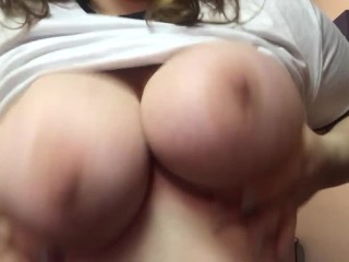 Hot Brunette Plays with Huge Amazing Tits