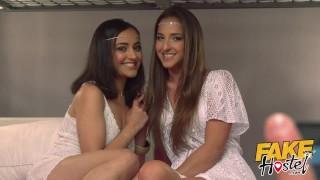 Fake Hostel Runaway middle eastern Princess sisters group sex