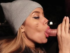 Blowjob Outdoors In Winter. I Warm his Cock with my Mouth and Swallow Cum.