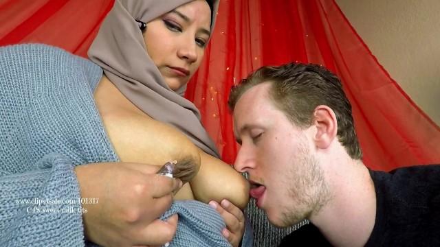 Shy Lactating Arab MILF Breastfeeds new Husband. Hijab Big Tits -  Pornhub.com