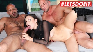 LETSDOEIT - Stunning Brunette Drilled By Two Massive Cocks