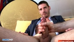 Real str8 bankster gets wanked his big cock in a gay porn !