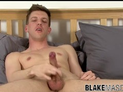 Skinny dude takes his trimmed cock and masturbates solo