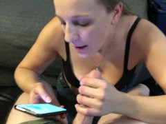 MILF Whore text, blowing showing boobs & playing on phone sucking dick TX/H