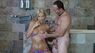 Bikini model getting tricked into wet BJ in shower