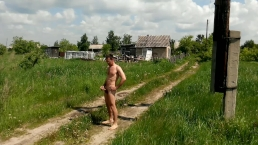 Walking nude and jerking on a country road. Summer. Birds singing.