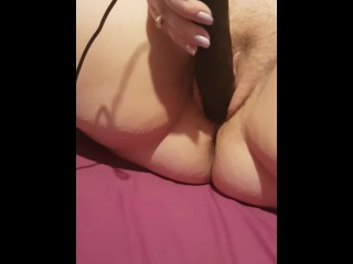 Sexy bbw playing with massive black vibrator until she cums