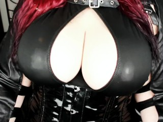 Dildo Titfuck - Fucking my big Boobs in Wetlook Outfit