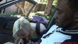 Sexy Little Blonde Teen Samantha takes a BBC on her way home from school!