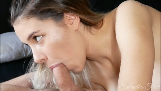 Mind-blowing tongue and suction BJ! Watch his cock pumping cum!