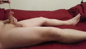 First time Sounding my Pierced Cock