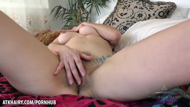 Leona fingers her hairy pussy to climax for you 30
