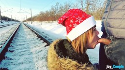 Winter outdoor amateur blowjob on the railway