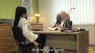LOAN4K. Colleague drills mouth and sissy of new very nice coworker Black of