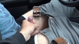 mastrubating in the car with huge cumshot