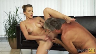 DADDY4K. Nice sex of dad and girl ends with cumshot in mouth
