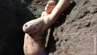 Lana Kendrick bts getting muddy with her gigantic boobs