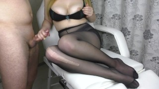 Teen Big Ass and Big Tits in Pantyhose - footjob, handjob, cum on feet