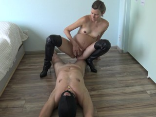 9 month pregnant girl humiliates her slave by peeing in his mouth spanking