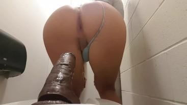Bubble ass riding BBC public bathroom