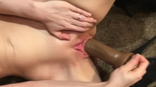 Petite Young Wife Stretching Her Tight Wet Pussy With a Large Black Dildo