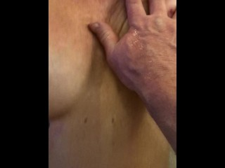 he's fucking me with his big dick and grabbin my big tits hot hottest fuck