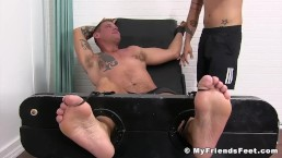 Restrained stud Jace has armpits tickled relentlessly