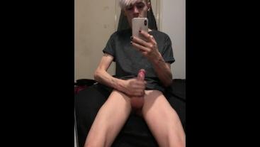 Teen Cumming On His Mirror