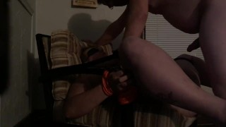 Blow job and deep fuck while tied to chair