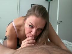4K POV horny blowjob with dirty cumplay
