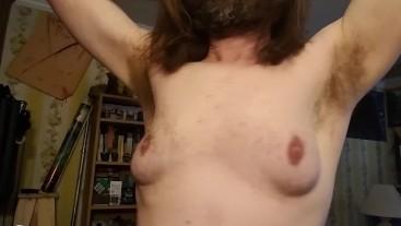 Hairy armpit show rub, lick, deodorant application