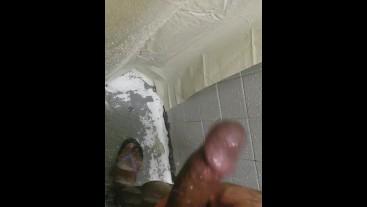Big black cock jerking in the shower