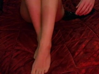 Sexy leg with heels, stocking and creamy feet – foot fetish