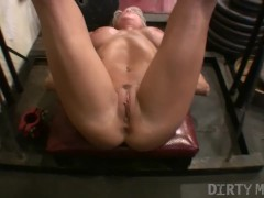 Mature Blonde Bodybuilder Works Out Her Legs and Pussy
