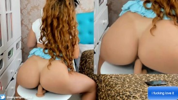 Sexy Brazilian Girl Big Booty Riding Dildo from Behind Jerk Off Instruction