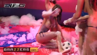 Brazzers - Soapy Soccer sluts get ass fucked in hot threesome porno