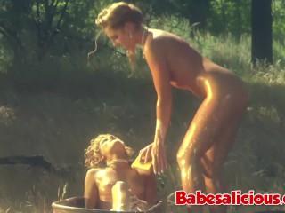 Licking blonde chicks is bath...