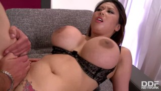 Fountains of sperm all over Tigerr Benson's big Milf tits make her orgasm