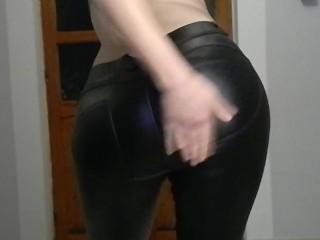 In shining leggings and spanking...
