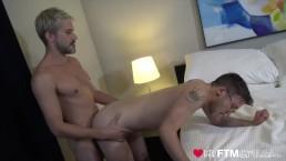 FTM cocksucker has hairy pussy eaten before fucking bareback
