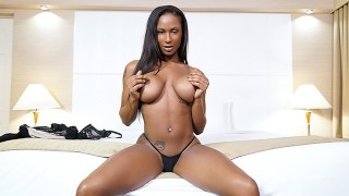 TeenyBlack - Busty Ebony Slides White Cock In Her Mouth And Pussy