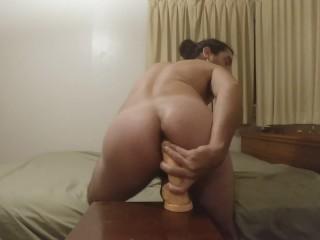 Deep anal dildo cumshot