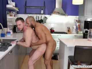 Mature duo barebacking in the kitchen